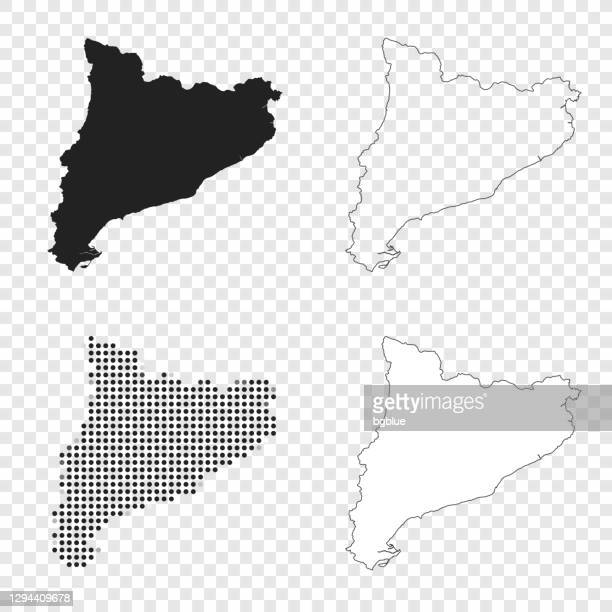 catalonia maps for design - black, outline, mosaic and white - catalonia stock illustrations