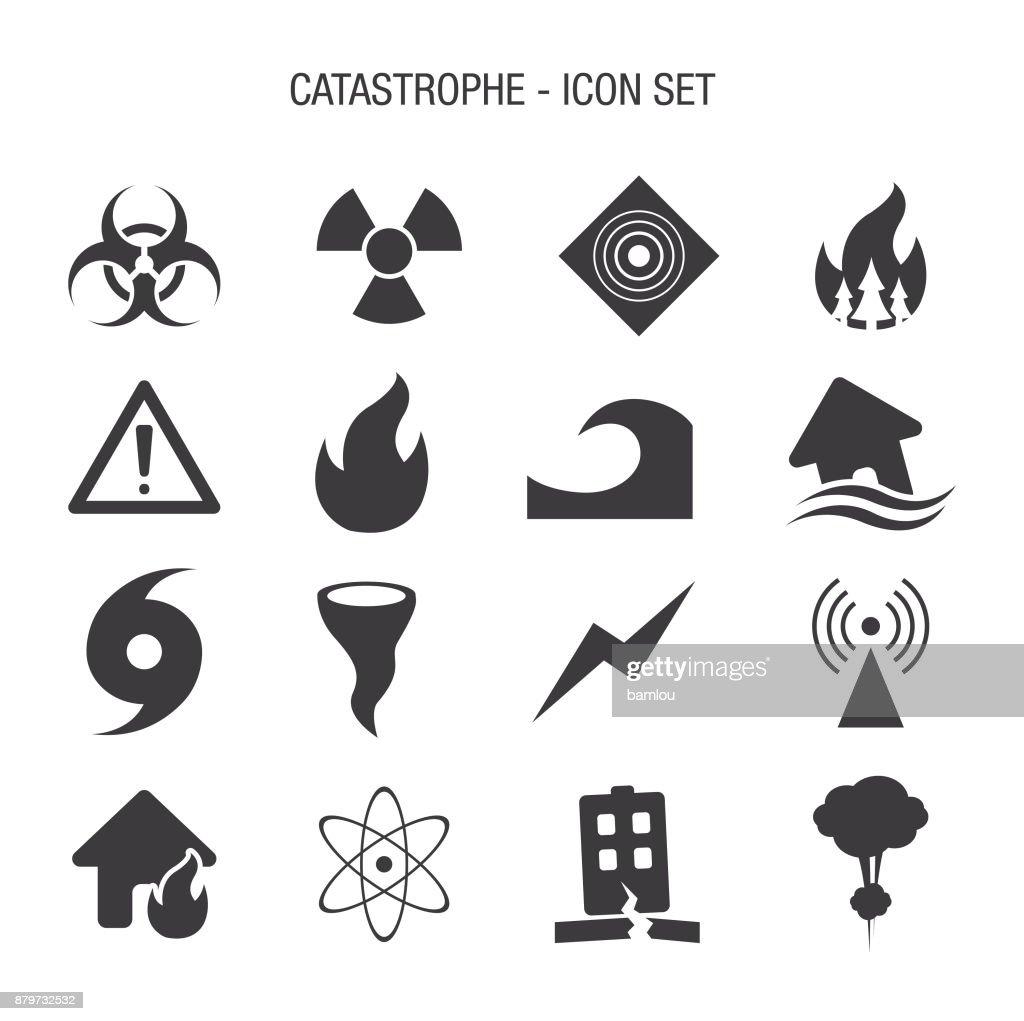 Catastrophe Icon Set : stock illustration
