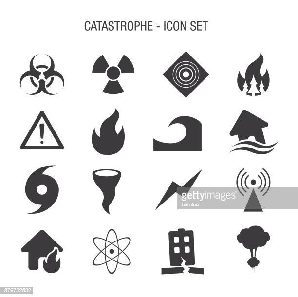 catastrophe icon set - danger stock illustrations