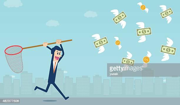 ilustrações, clipart, desenhos animados e ícones de pegando dinheiro - voando