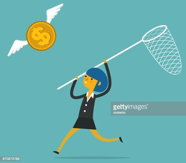 Fang von Geld mit Geschäftsfrau