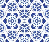 Catchy Indigo Blue Flower Pattern