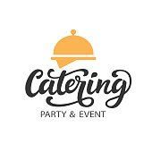 Catering vector Symbol badge with hand written modern calligraphy
