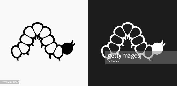 caterpillar icon on black and white vector backgrounds - caterpillar stock illustrations