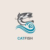 catfish and wave icon
