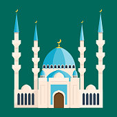 Cathedral buddhist churche temple building landmark tourism world religions and famous muslims traditional city ancient old tower vector illustration