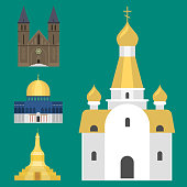 Cathedral church temple traditional building famous landmark tourism vector illustration