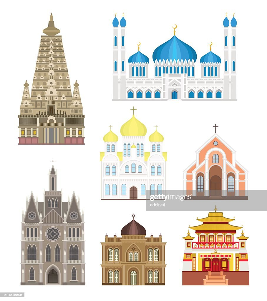 Cathedrals and churches infographic temple buildings set architecture asia landmark