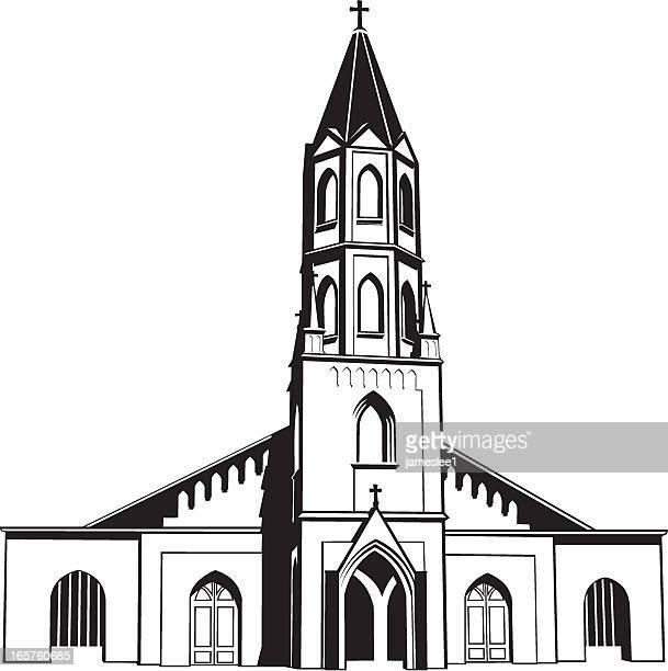 catholic church - steeple stock illustrations, clip art, cartoons, & icons