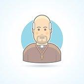 Catholic priest, clergyman in a cassock icon. Flat avatar illustration.