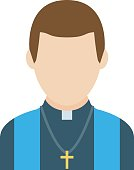 Catholic priest vector icon in a flat style