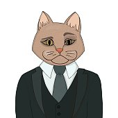 Catman in a business suit and tie. The cat man is the boss.