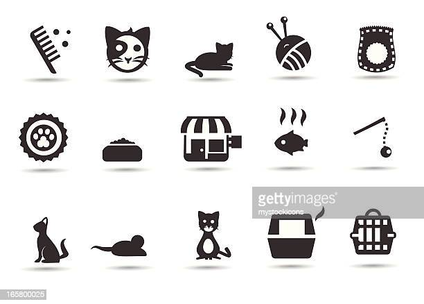 cats and kitten icons - cat food stock illustrations
