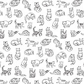 cats animals vector pattern