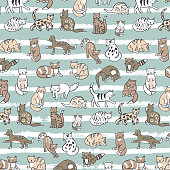 cats animals vector pattern