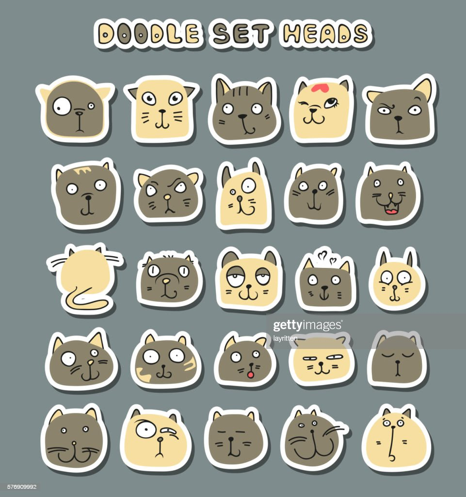 Cats cute doodle. Funny animals pets isolated