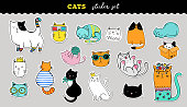 Cats cute sticker collection. Vector hand drawn illustrations