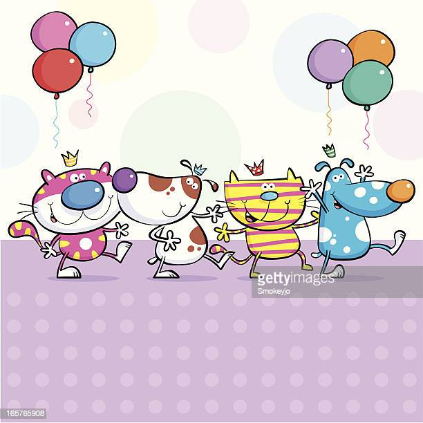 cats & dogs birthday party - conga dancing stock illustrations, clip art, cartoons, & icons