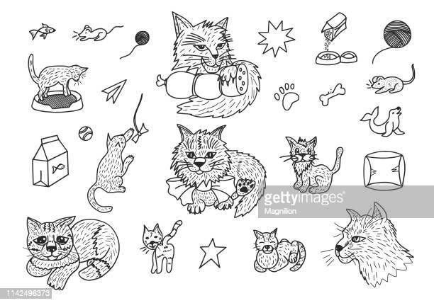 cats doodle set - cat food stock illustrations