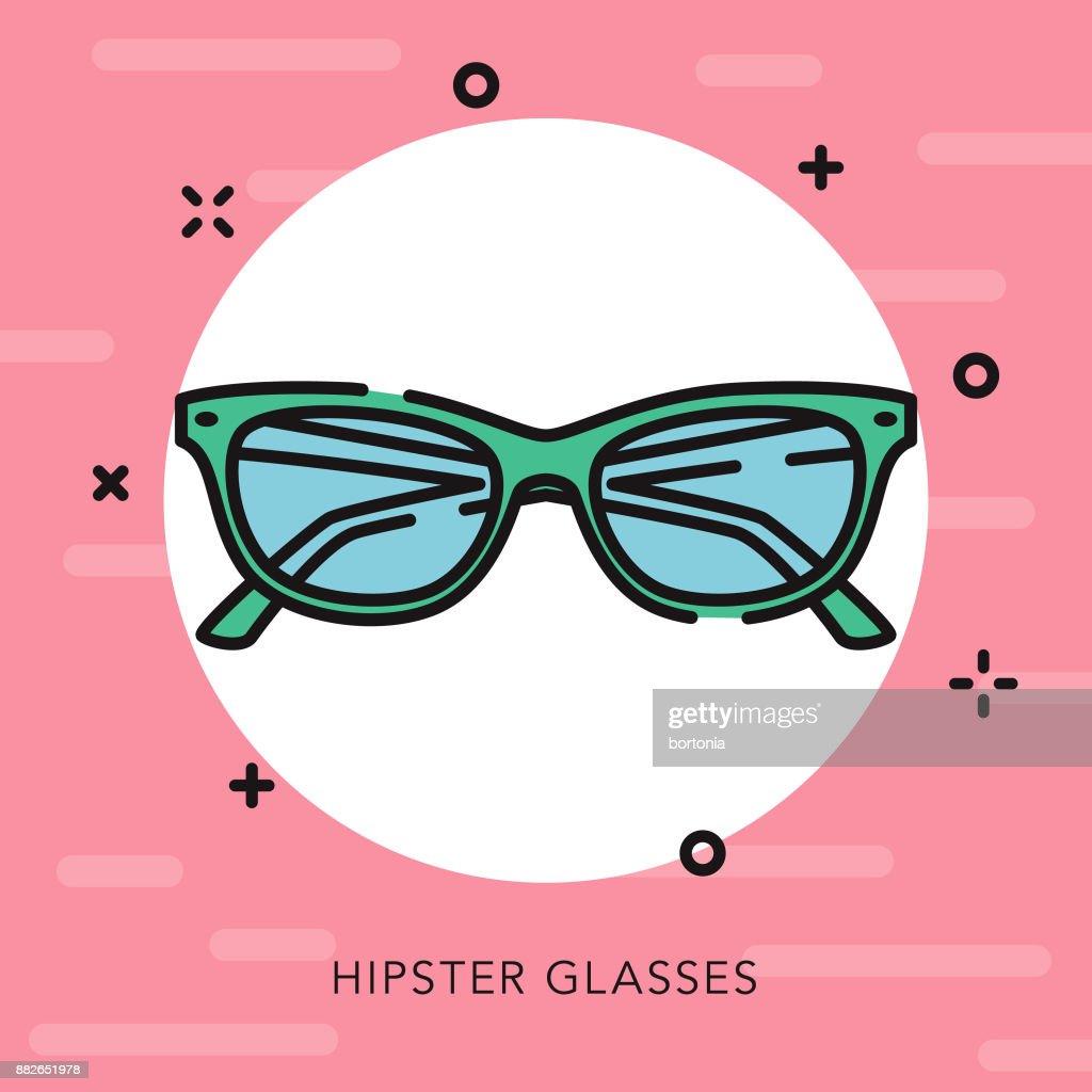Cat's Eye Glasses Open Outline Graphic Design Icon : stock illustration
