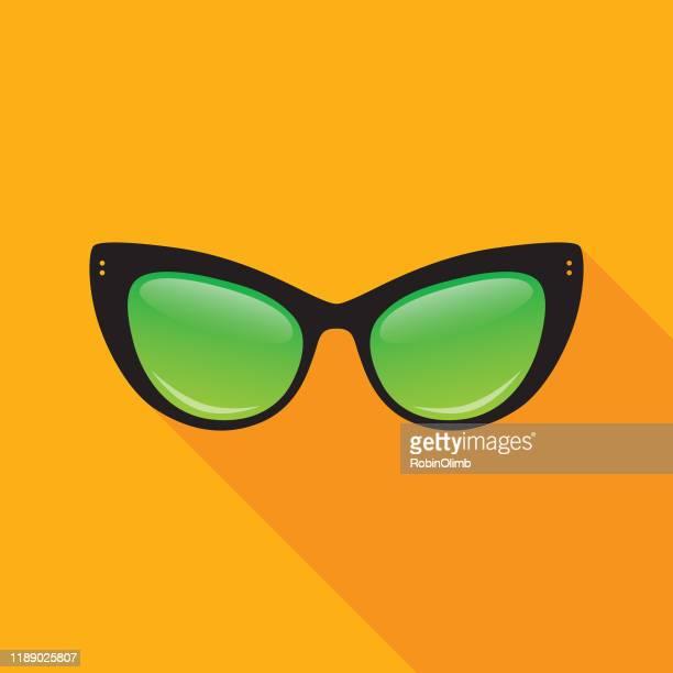 cat's eye sunglasses icon - cat's eye glasses stock illustrations