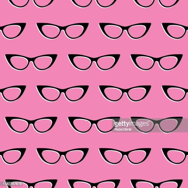 cats eyeglasses seamless pattern - cat's eye glasses stock illustrations