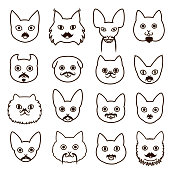 cats faces with mustache set