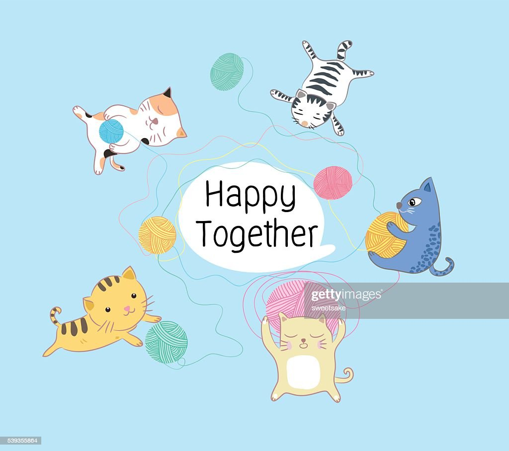 cats happy together vector illustration