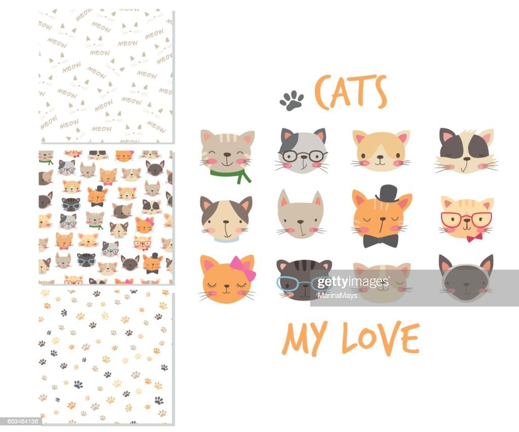 Cats heads. Cartoon surface design and 3 seamless patterns