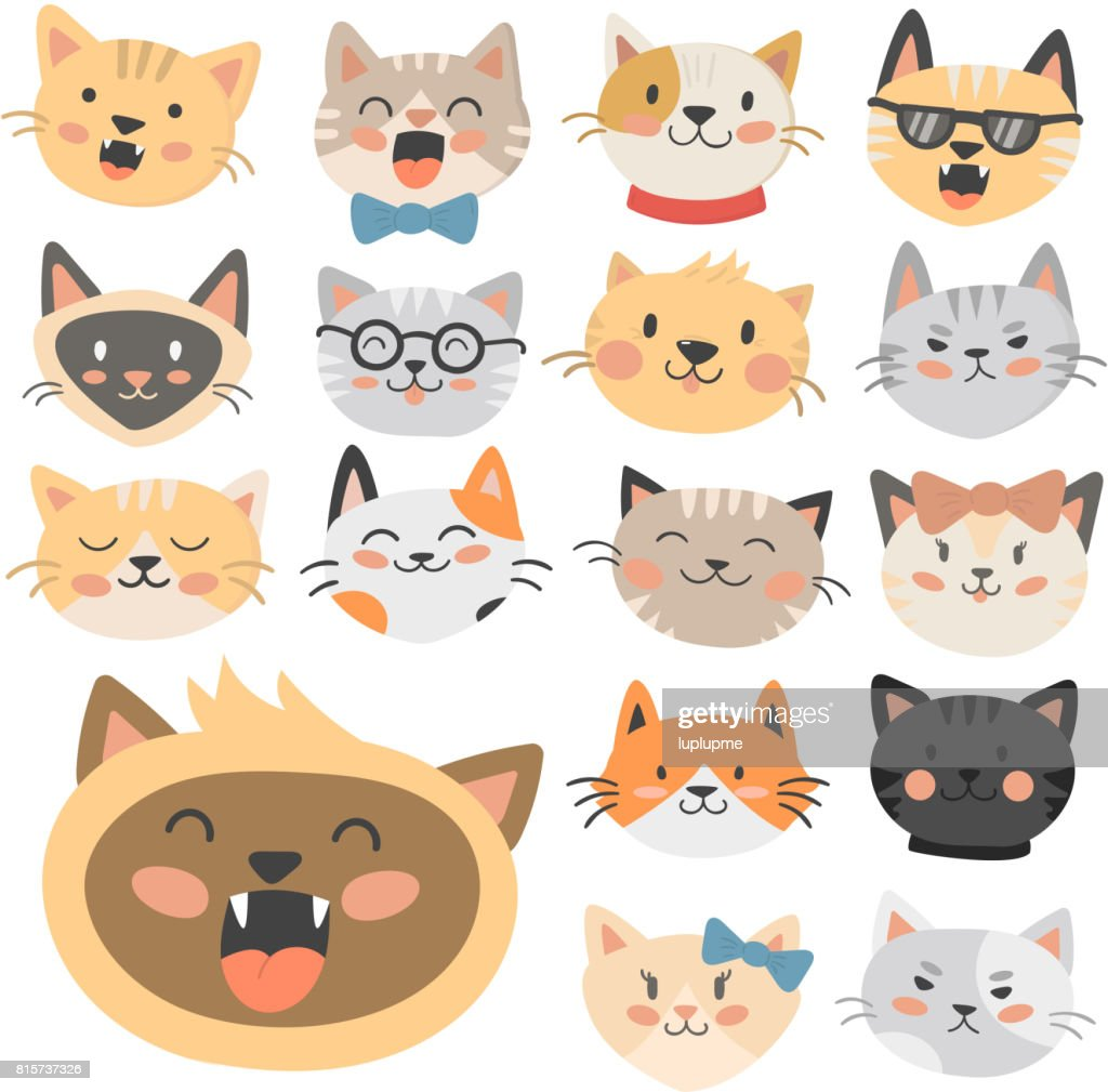 Cats heads vector illustration cute animal funny decorative characters feline domestic trendy pet drawn