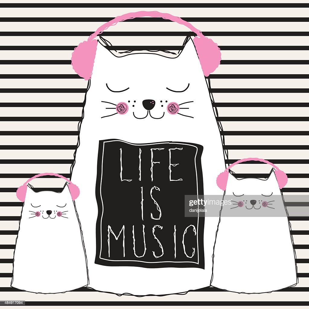 cats listening music, life is music quote