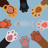 Cats paw set cartoon