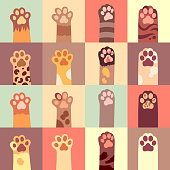 Cats paw vector flat icon set