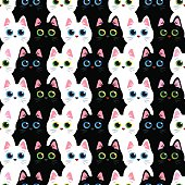 Cats seamless abstract vector pattern