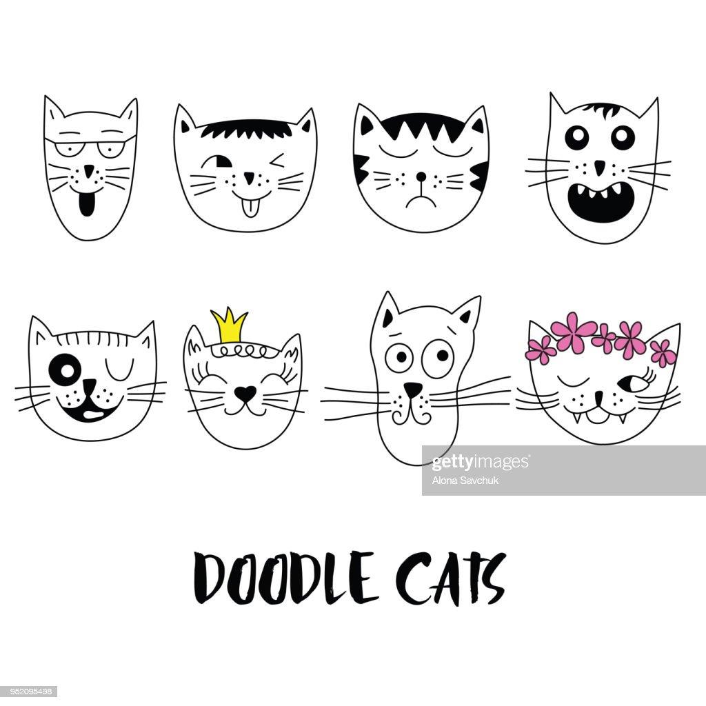Cats, set of cute doodle.
