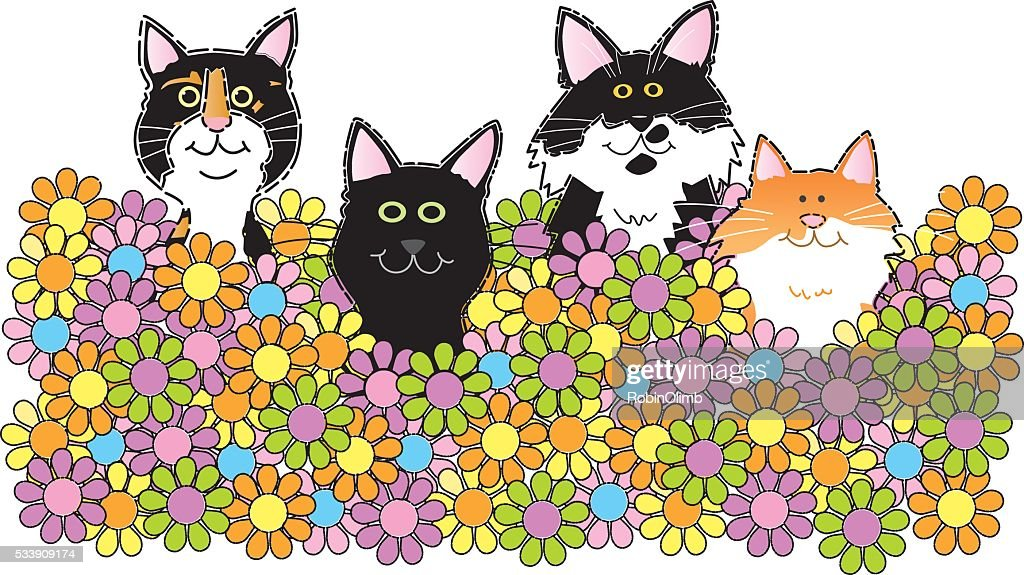 Cats Sitting In Flowers