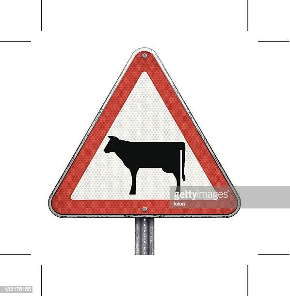 cattle crossing road sign - animal crossing sign stock illustrations