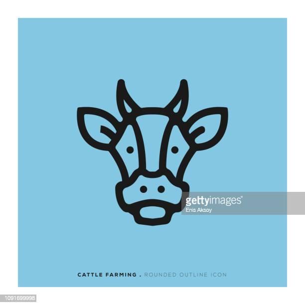 牧畜丸みを帯びた線アイコン - 丑年点のイラスト素材/クリップアート素材/マンガ素材/アイコン素材