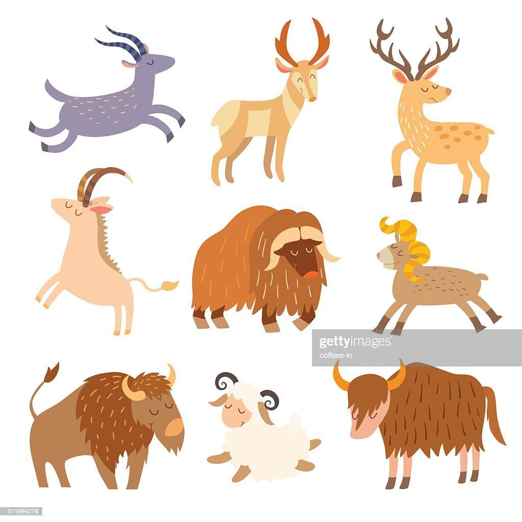 Cattle wild set. Cartoon flat animals