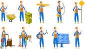 Caucasian builder vector illustrations set