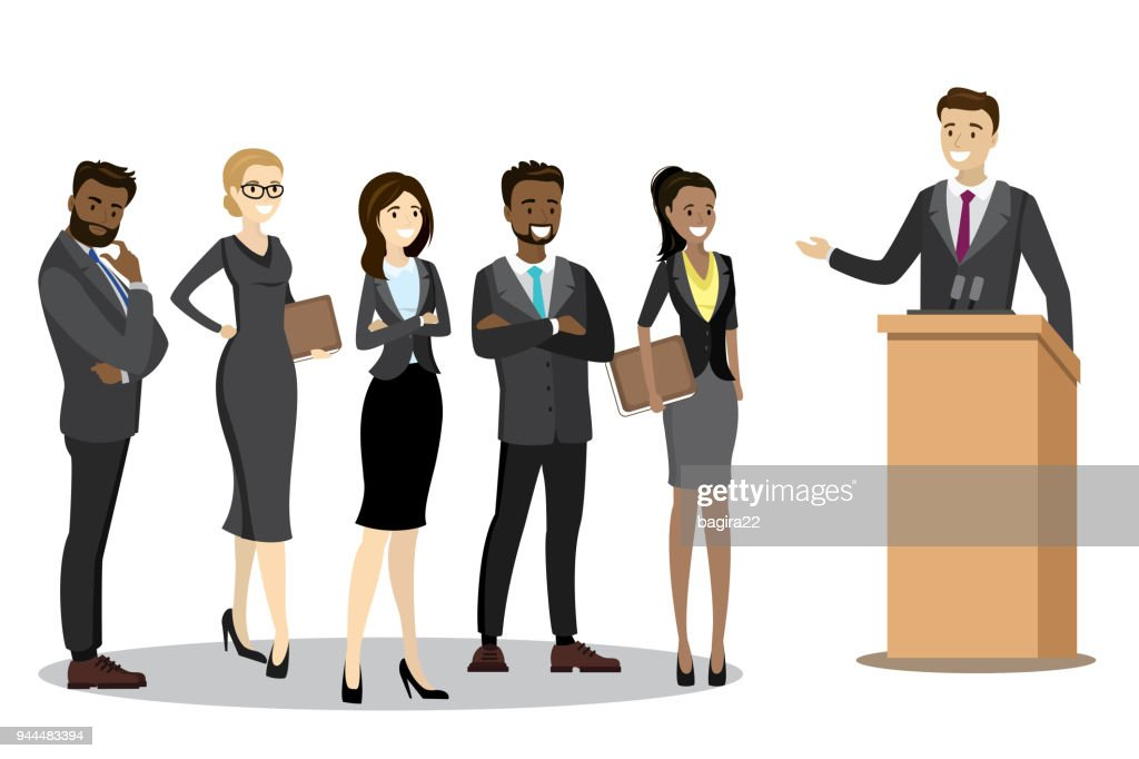Caucasian businessman or politician speaking to audience from tr