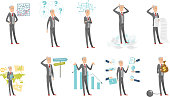 Caucasian businessman vector illustrations set
