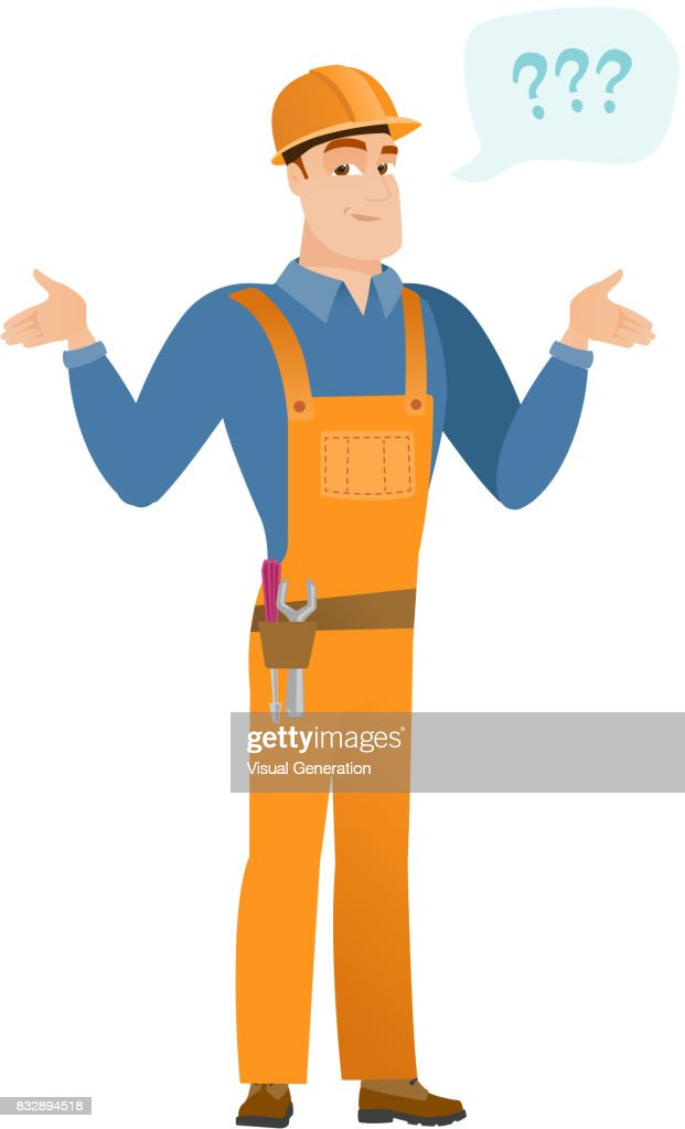 Caucasian confused builder with spread arms