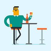 Caucasian man drinking wine in the restaurant