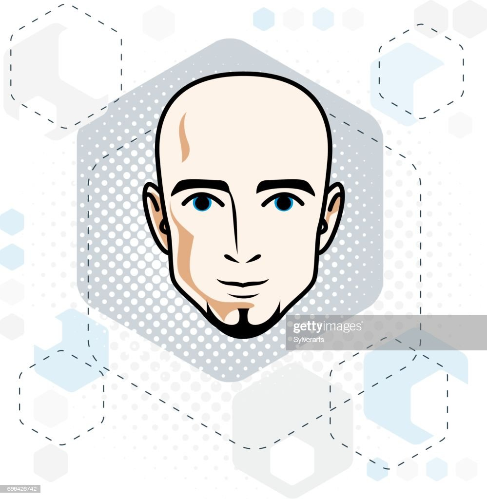 Caucasian man face, vector human head illustration. Attractive hairless male with beard, hipster