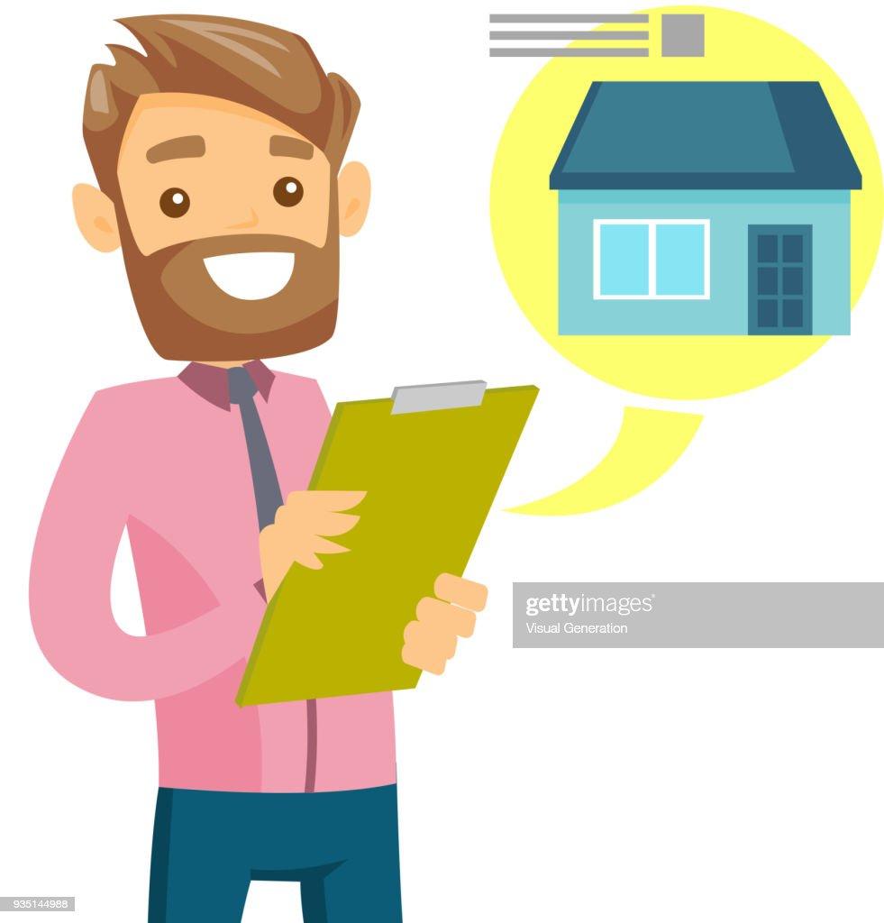 Caucasian man reading real estate advertising