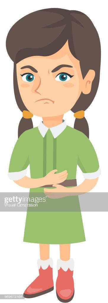 Caucasian sad girl having stomach ache