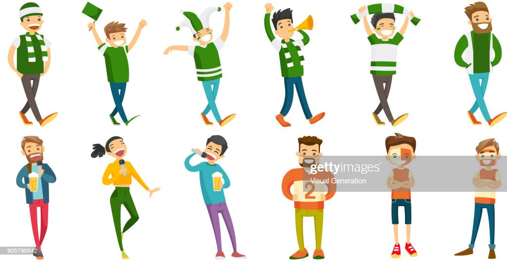 Caucasian sport fans vector illustrations set