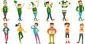 Caucasian sport fans vector illustrations set