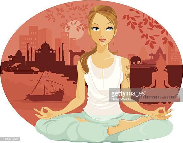 ilustraciones, imágenes clip art, dibujos animados e iconos de stock de caucásicos turista en la india - yoga